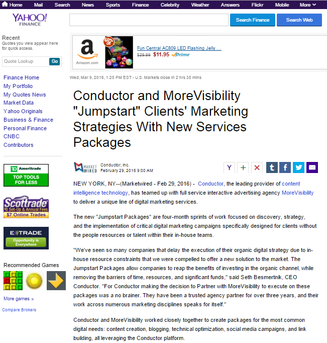 MoreVisibility, Conductor Jumpstart Marketing Strategies with New Effort