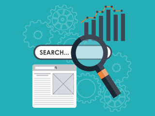 Search Engine Optimization Illustration, Search bar and graph