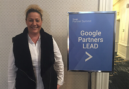 MoreVisibility's Danielle Leitch at the 2016 Google Partner Summit in San Franciso, CA.