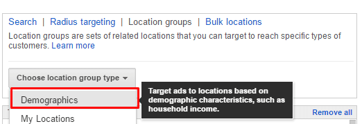 Choose the Demographics location group type in the drop down.