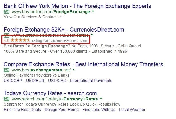 Foreign Exchange Rate - Star Rating