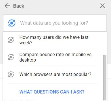 Screenshot of Intelligence drop down menu