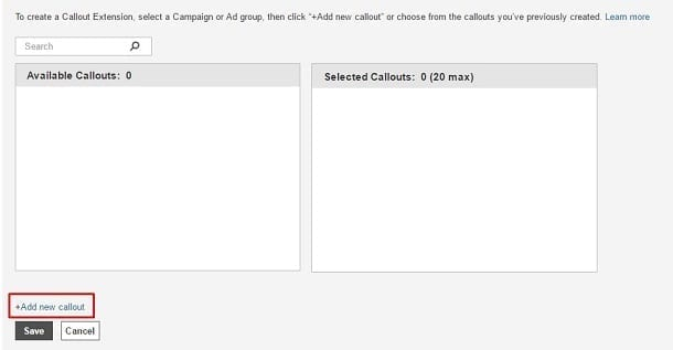 Google AdWords Callout Extension - Add New Callout