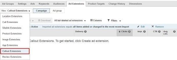 Google AdWords Callout Extension Dropdown Menu