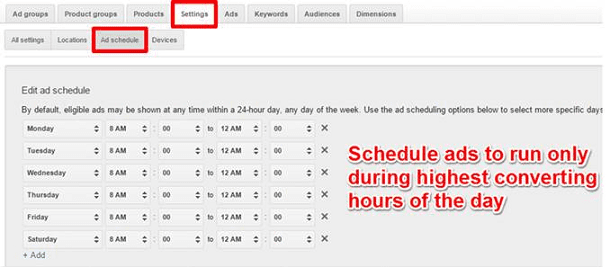 Google AdWords Campaign Setting Ad Schedule Tab