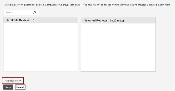 Google AdWords Review Extension - Add New Review