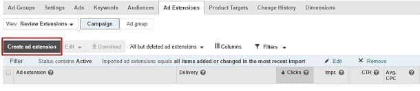 Google AdWords Review Extension - Create Ad