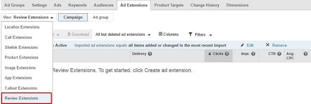 Google AdWords Review Extension Dropdown Menu