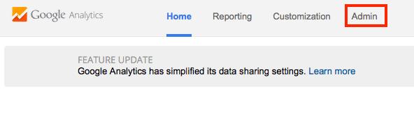 Screenshot of Google Analytics Admin Tab