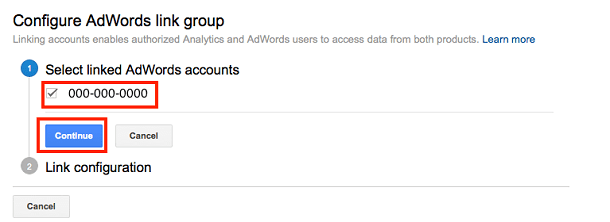 Example of configuring AdWords link group