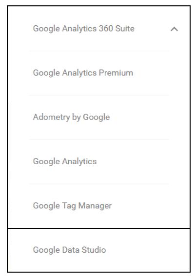 Google Analytics Data Studio 5 Dashboards Menu