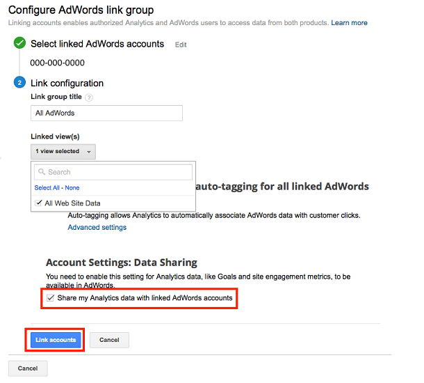 How to link your Google Analytics and AdWords account