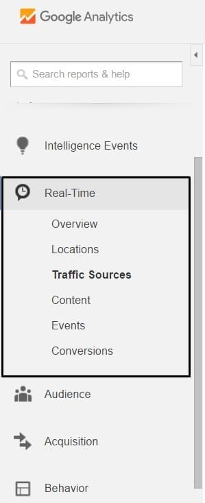 Google Analytics Real Time Reports Interface Navigation
