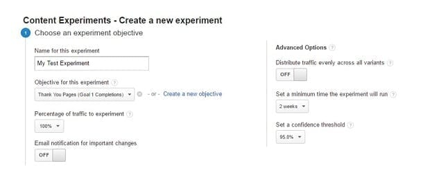 Google Content Experiments - Create New
