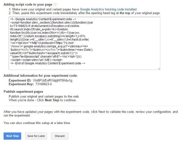 Google Content Experiments - Script