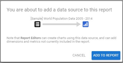 Google Data Studio Add Data Source prompt