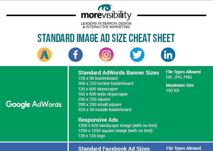 Standard Image Ad Size Cheat Sheet 2018