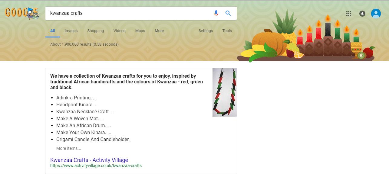 Kwanzaa Themed Google Search Header