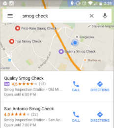 Local Search Ad on Google Maps
