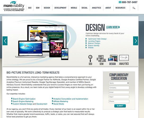 Screenshot of MoreVisibility website viewed on desktop