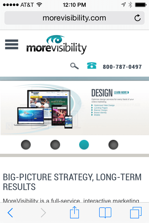 Screenshot of MoreVisibility website viewed on mobile