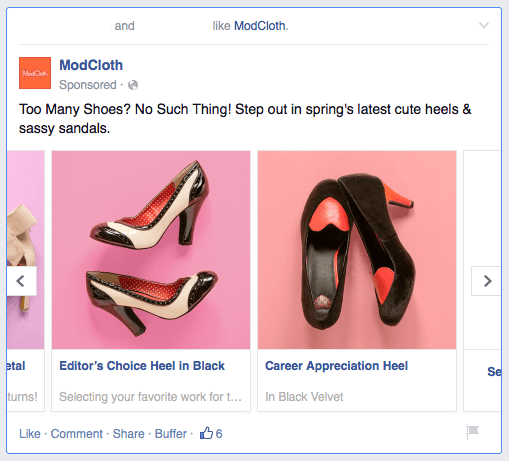 ModCloth's Facebook Product Listing Ad