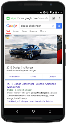 Example of the new automotive ad format from Google