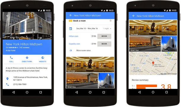 Example of the new hotel ad formats from Google