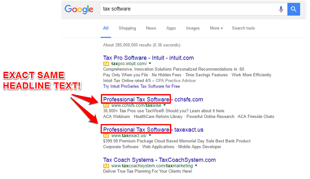 Google SERP headline repetition among competitors