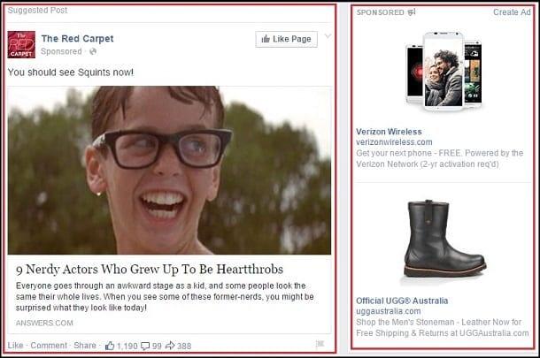 Facebook advertisement samples.