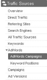 Traffic Sources Navigation in Google Analytics