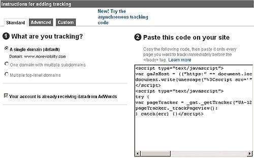Google Analytics Tracking Code Wizard