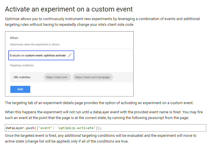 Activate an experimient on custom event