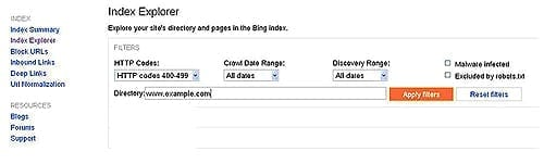 New Index Explorer Function in Bing Webmaster Tools
