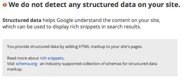 structured data error message