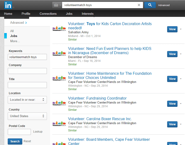 LinkedIn Search for VolunteerMatch Opportunities