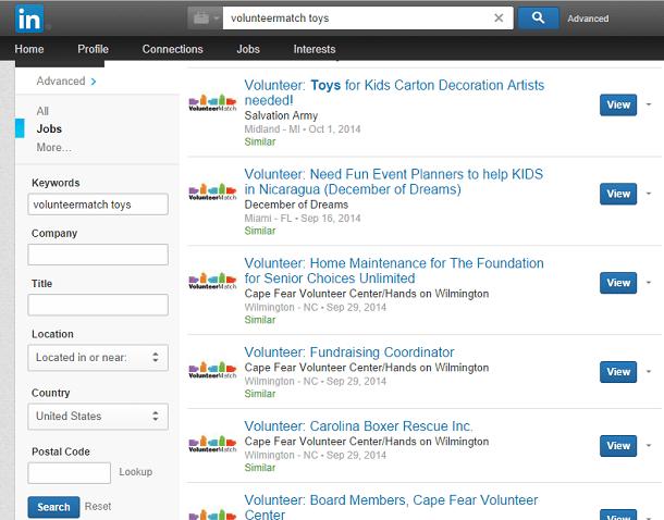 LinkedIn Search for VolunteerMatch Opportunities