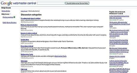 SEO: Google Webmaster Central Help Forum